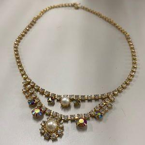 Vintage Ab shine rhinestone necklace